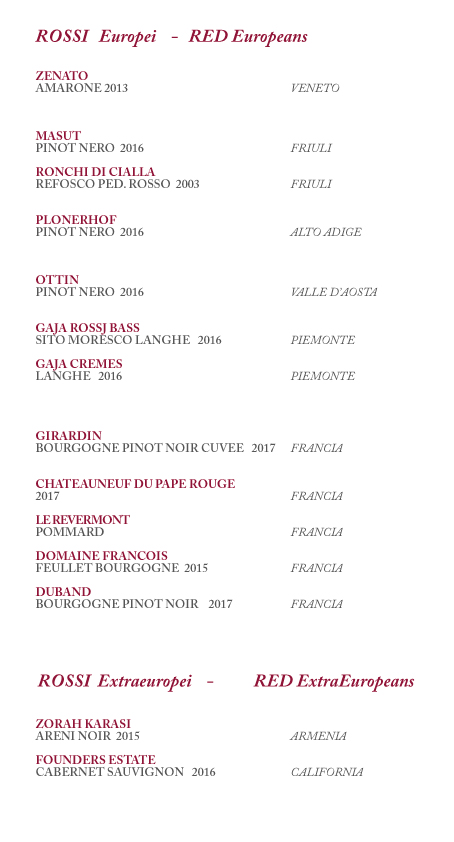 carta vini rossi italiani