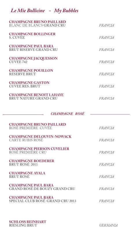 lista champagne rose